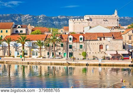 Town Of Vrboska Waterfront And Fortress View, Hvar Island, Dalmatia Archipelago Of Croatia