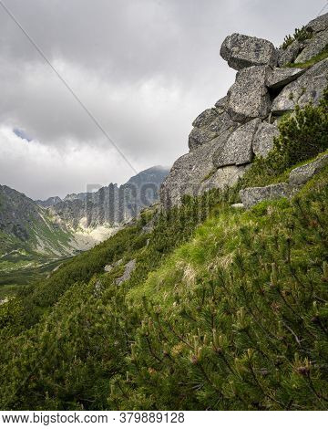 Rock Formation On A Hiking Trail In High Tatras Mountains In Slovakia Surrounded By Coniferous Trees