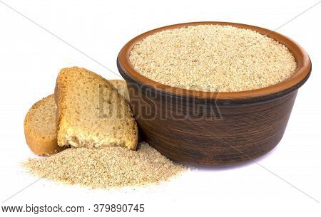 Bowl With Breadcrumbs Isolated On White. Natural Food Ingredient.