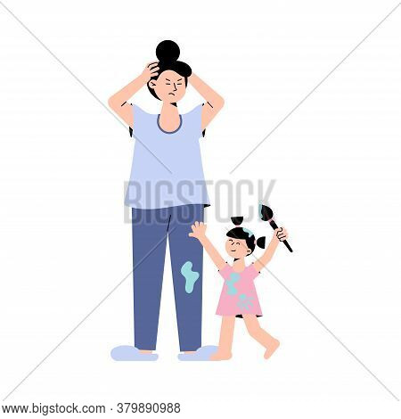 Frustrated Mother And Little Daughter With Brush Is Stained With Paint Isolated On White Background.