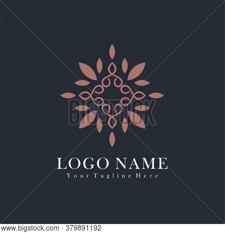 Abstract Leaf Flower Logo Icon Vector Design. Universal Creative Premium Symbol. Graceful Fashion Bo