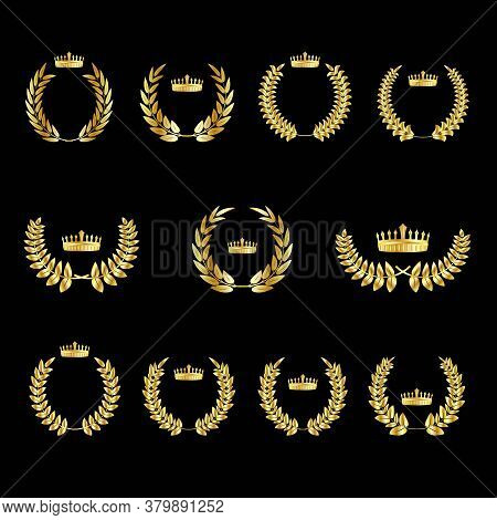 Set Of Gold Award Laurel Wreaths With Royal Crown And Branches On Dark Background, Vector Illustrati