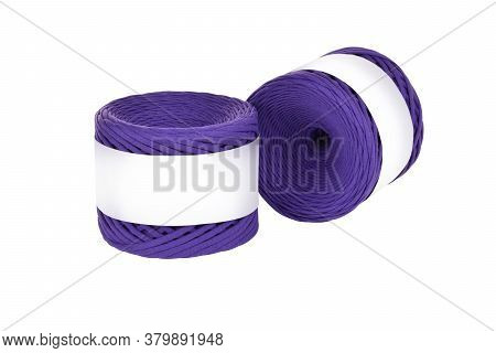 Two Skeins Of Purple Color Elastic Knitted Cotton Yarn For Crochet. Roll With Mockup Label Layout On