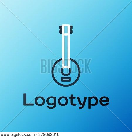 Line Banjo Icon Isolated On Blue Background. Musical Instrument. Colorful Outline Concept. Vector Il