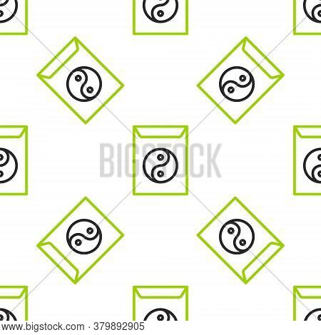 Line Yin Yang And Envelope Icon Isolated Seamless Pattern On White Background. Symbol Of Harmony And