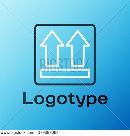 Line This Side Up Icon Isolated On Blue Background. Two Arrows Indicating Top Side Of Packaging. Car