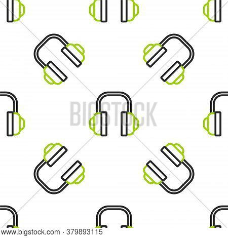 Line Headphones Icon Isolated Seamless Pattern On White Background. Support Customer Service, Hotlin