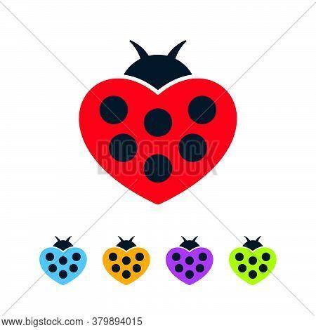 Heart Shaped Ladybugs On White Background. Colorful Bugs Flat Icon Set.