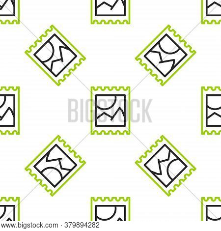 Line Lsd Acid Mark Icon Isolated Seamless Pattern On White Background. Acid Narcotic. Postmark. Post
