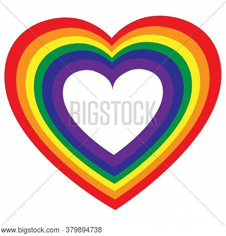 Lgbt Color Heart. Rainbow Colored Heart. Gay Pride. Sticker, Patch, T-shirt Print, Logo Design. Lesb