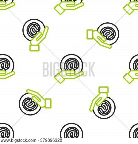 Line Mail And E-mail In Hand Icon Isolated Seamless Pattern On White Background. Envelope Symbol E-m