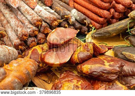 Ham Sausages Delicatessen Pork Meat Variety Selection