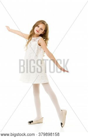 Rare View Of Pretty Girl Wearing Beautiful White Lace Dress, Girl With Blonde Long Hair Dressed Styl