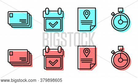 Set Line Document Tracking Marker System, Envelope, Calendar With Check Mark And Fast Time Delivery