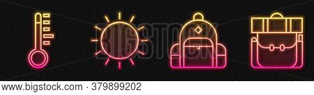 Set Line Hiking Backpack, Meteorology Thermometer, Sun And Hiking Backpack. Glowing Neon Icon. Vecto
