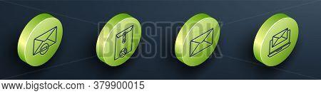 Set Isometric Delete Envelope, Delete Envelope, Envelope And Laptop With Envelope Icon. Vector