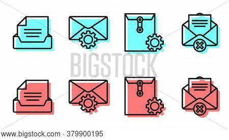 Set Line Envelope Setting, Drawer With Document, Envelope Setting And Delete Envelope Icon. Vector