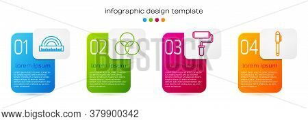 Set Line Protractor, Rgb And Cmyk Color Mixing, Paint Roller Brush And Pen. Business Infographic Tem
