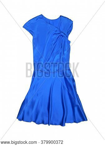 Plain Blue Summer Dress Without Sleeves Isolated On White Background. Flat Lay