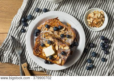Homemade Brioche French Toast With Blueberries And Almonds