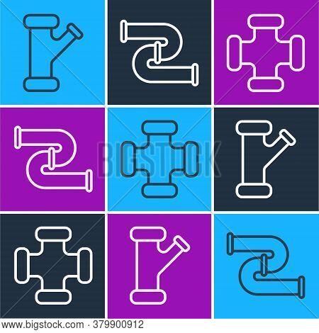 Set Line Industry Metallic Pipe, Industry Metallic Pipe And Industry Metallic Pipe Icon. Vector