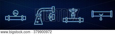 Set Line Industry Pipe And Valve, Industry Pipe And Manometer, Water Tap And Broken Pipe With Leakin