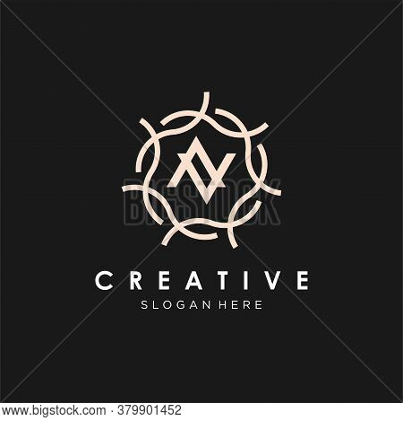 Letter N For Beauty Spa Logo Template, Salon And Cosmetic Brand Identity. Fashion Boutique Vector Si