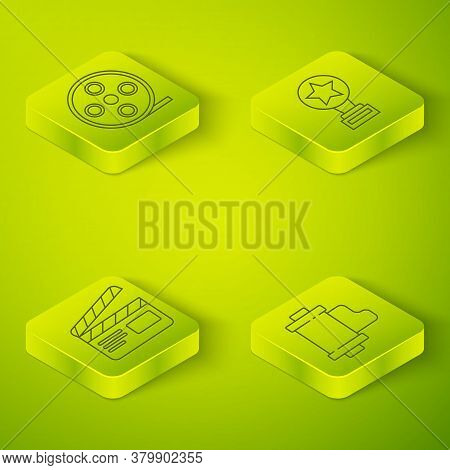 Set Isometric Movie Trophy, Movie Clapper, Camera Vintage Film Roll Cartridge And Film Reel Icon. Ve