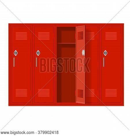 Red Metal Cabinets With One Open Door. Lockers In School Or Gym With Handles And Locks. Safe Box Wit