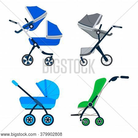 Stroller Icon Vector Set. Blue, Green, Grey Carriage For Baby Isolated On White Color. Carrycot Newb