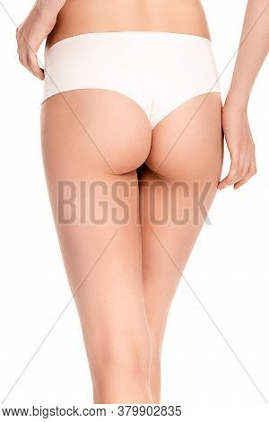View Of Woman In Panties Standing Isolated On White