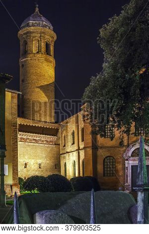 Bell Tower Of Basilica Of San Vitale In Ravenna In Evening, Italy