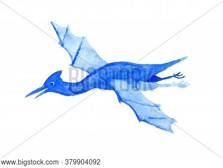 Cartoon Dinosaur. Illustration For Kids. Watercolor Image Isolated On White Background.