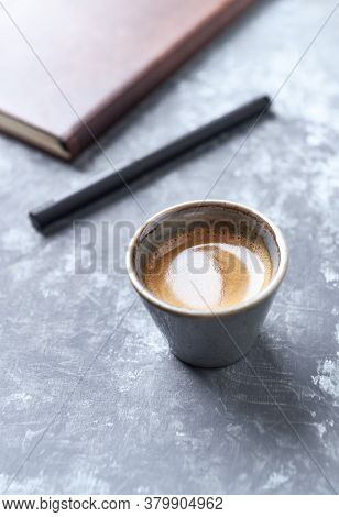 Cup Of Coffee On Rustic Wooden Background. Copy Space