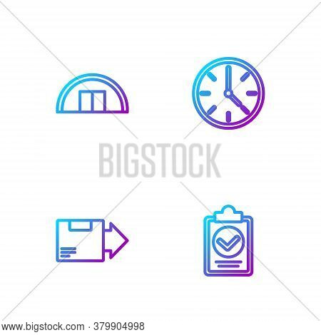 Set Line Verification Of Delivery List Clipboard, Carton Cardboard Box, Warehouse And Clock. Gradien
