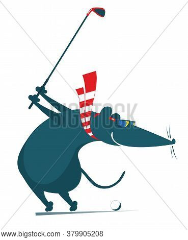 Cartoon Rat Or Mouse Plays Golf Illustration. Funny Rat Or Mouse Tries To Do A Good Kick Isolated On