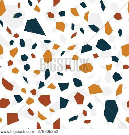 White Terrazzo Wall Vector Seamless Pattern. Granite Terrazzo Tile Texture. Blue And White Abstract