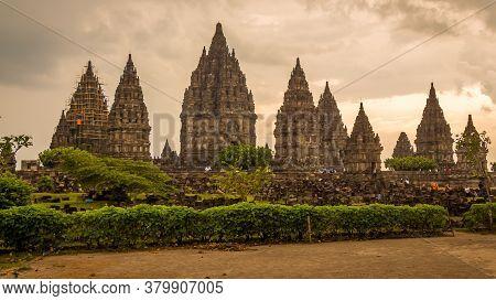 Prambanan, Indonesia - October 15th 2016: The Hindu Prambanan Temple At Sunset, Yogyakarta, Indonesi
