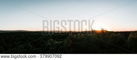 Panoramic View To Summer Czech Forest Landscape At Sunset. Nature Reserve Krusne, Ore Mountains, Ton