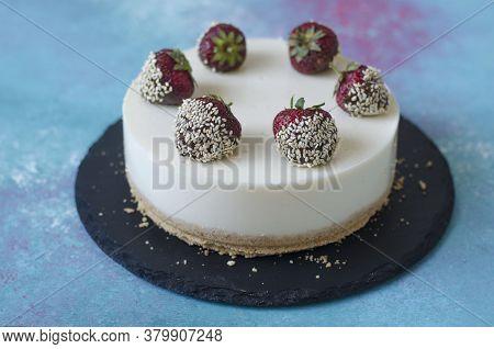 Yogurt Cheesecake With Strawberry Jelly And Chocolate Covered Strawberries
