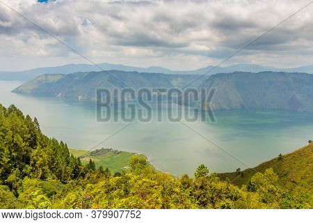 View Into The Crater Of The Largest Volcanic Crater Lake In The World, Lake Toba, From Samosir Islan