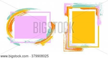 Abstract Frames With Paint Brush Strokes Vector Set. Box Borders With Painted Brushstrokes Backgroun