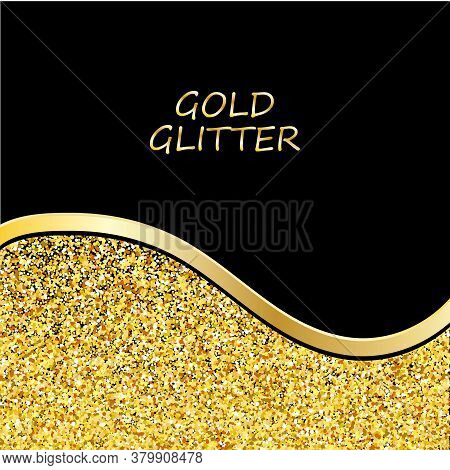 Gold Glitter Background. Gold Sparkles On Black Background. Creative Invitation For Party, Holiday,