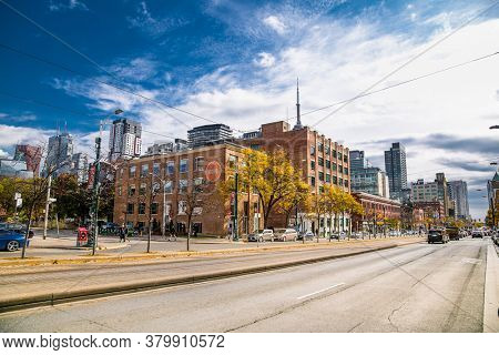 Toronto, Canada-Oct 24, 2019: Scenic view landscape of outdoor city town Toronto at suny day. Buildings, houses, trees, roads and streets in Toronto. Canada.