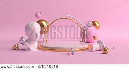 3d-illustration Abstract Geometric Shapes Scene Minimal, Design For Cosmetic Or Product Display Podi