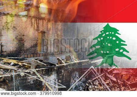 Beirut Destruction After In The Tragic Explosion Happened In Port Of Beirut On National Flag Of Leba