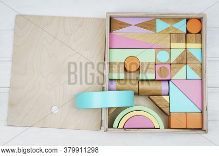 Wooden Constructor For Children. Colorful Toys Made Of Natural Materials. Zero Waste. Developing Gam