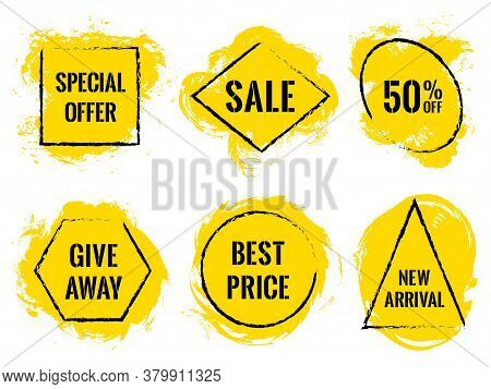 Marketing Banners For Summer Sale Vector Collection. Advertising Banners With Geometric Frames, Brus
