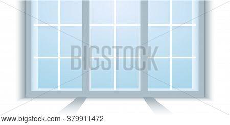 Window Frame Illustration. Vector Illustration Of A New Installed Wide Pvc Window Frame. Light Backg