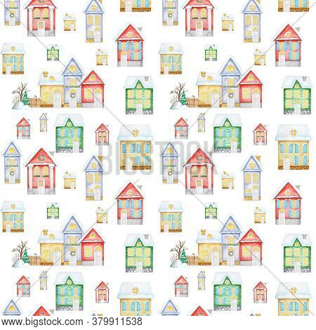 Watercolor Christmas Winter Houses Seamless Pattern. Kids Cartoon House With Wooden Door, Luminous W